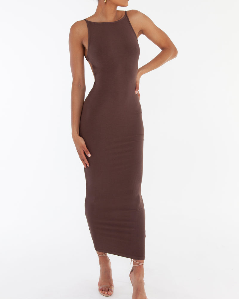 LIYA MAXI DRESS - DARK BROWN