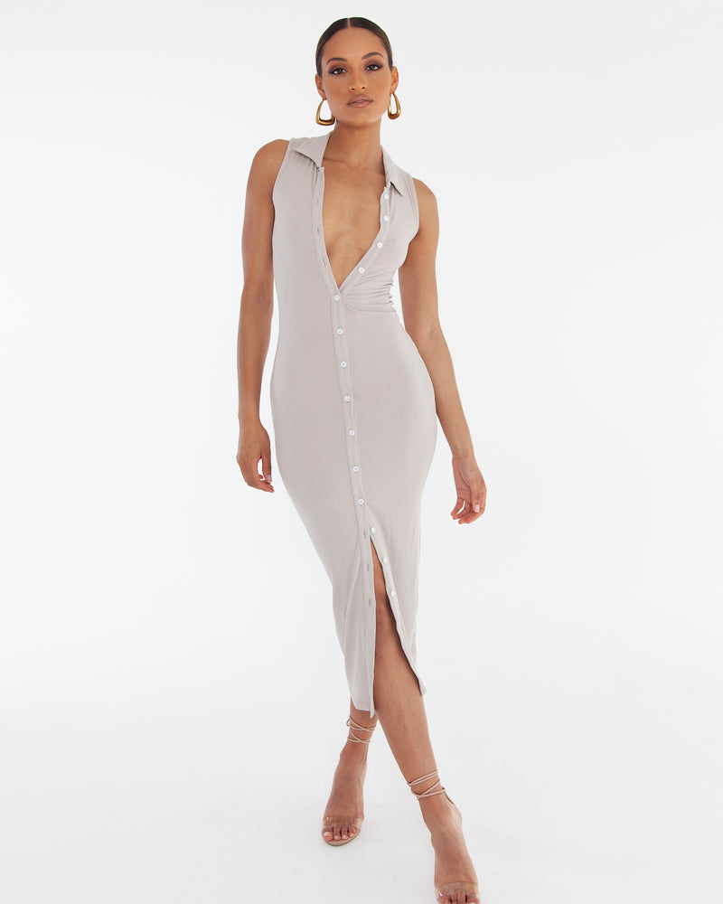 Sleeveless Polo Maxi Dress - Bone