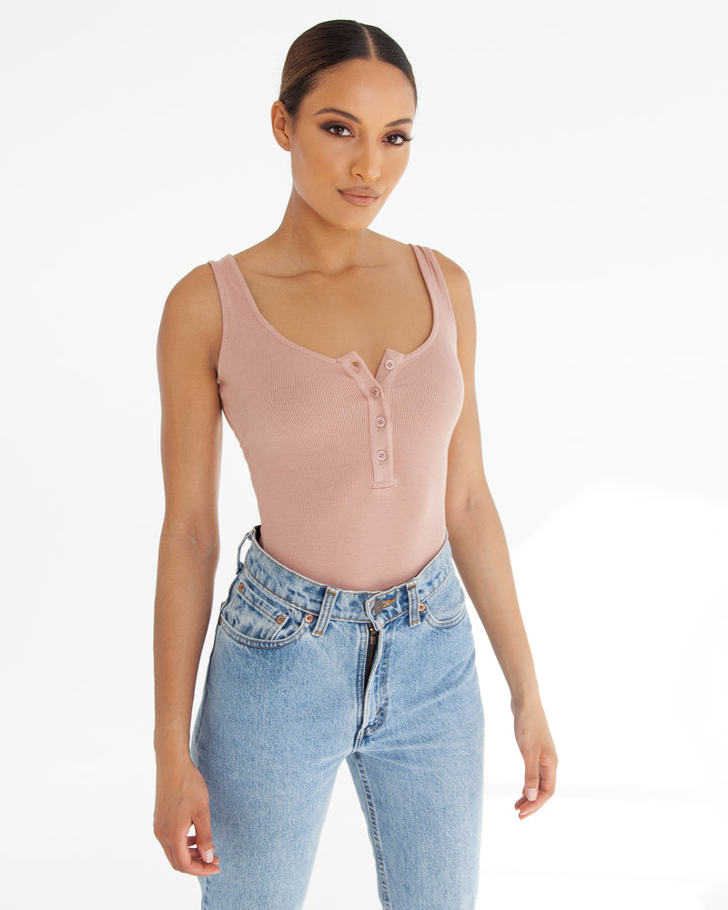 Scoop Neck Button Down Bodysuit - Nude