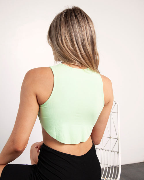 CREW NECK CROP - Neon Green