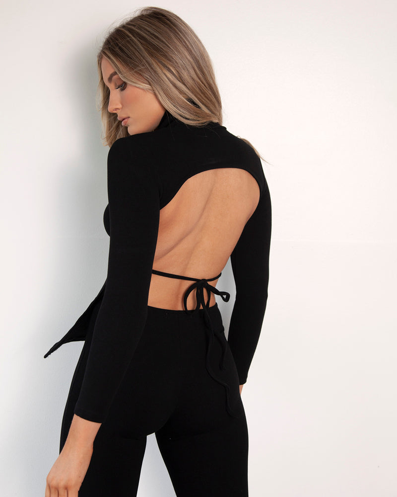 Backless Turtle Neck Long Sleeve Top