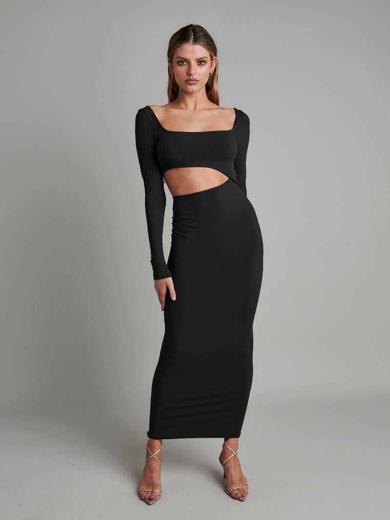 LONG SLEEVE ANGEL MAXI - BLACK