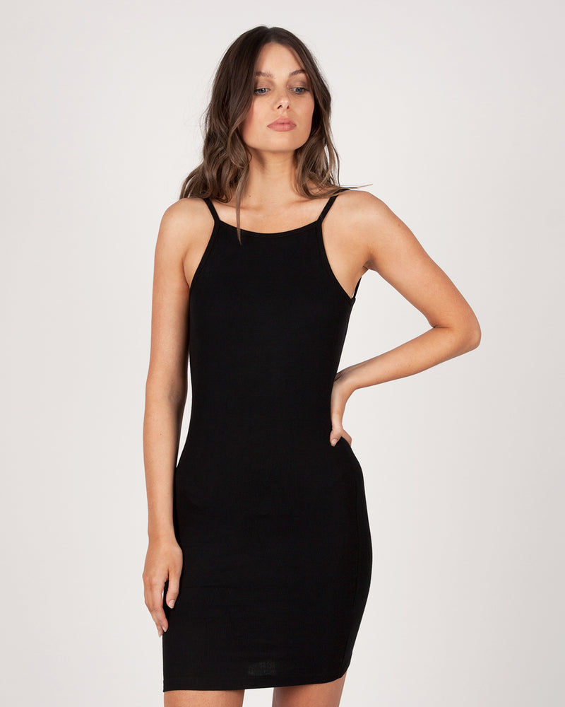 BACKLESS MINI DRESS - BLACK