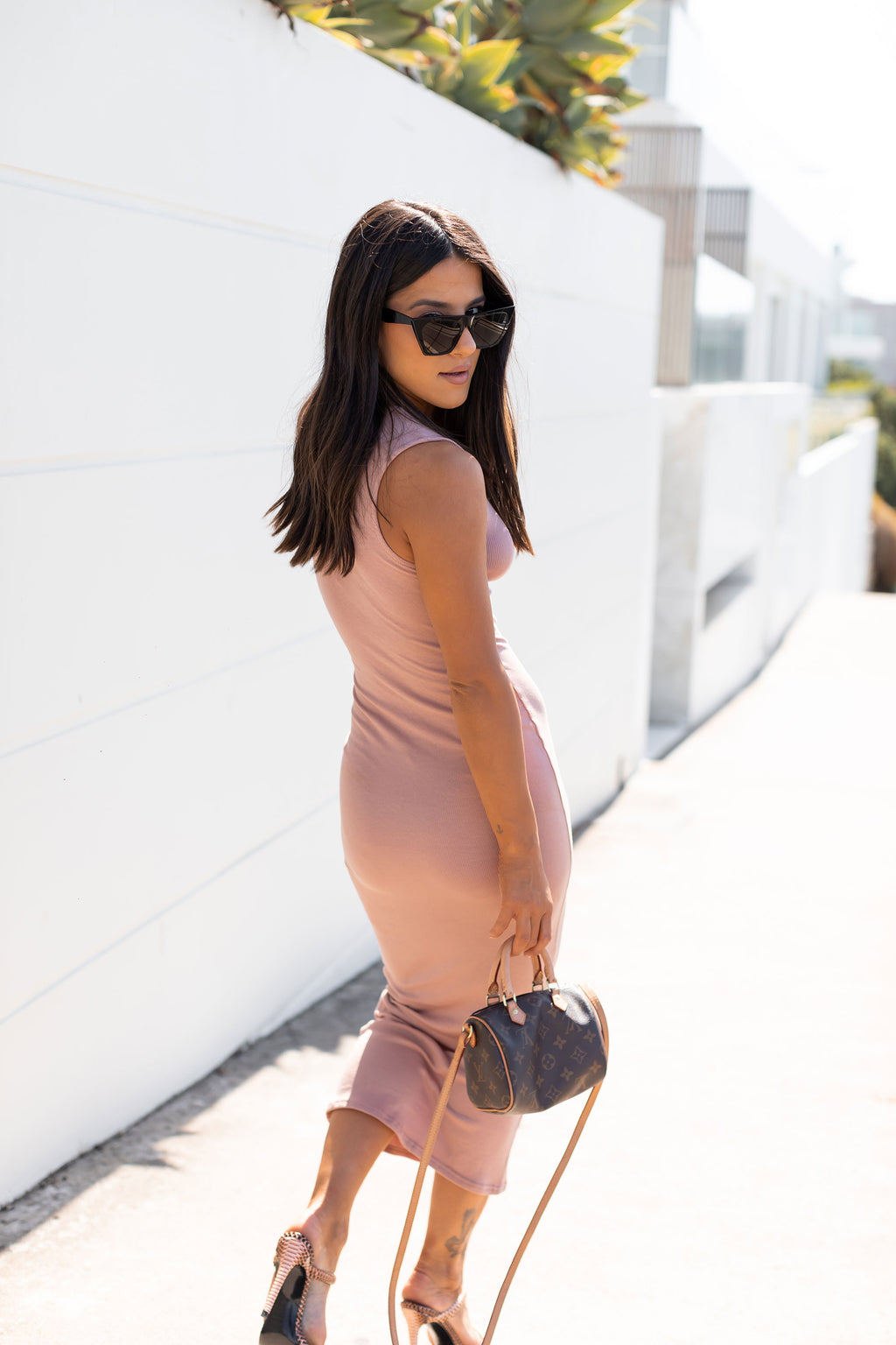 Sleeveless Crew Neck Maxi Dress - Nude