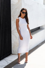 Sleeveless Crew Maxi Dress - White