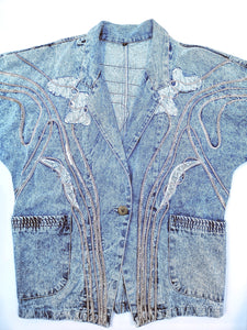 80s ACID WASH DECORATION DENIM JACKET