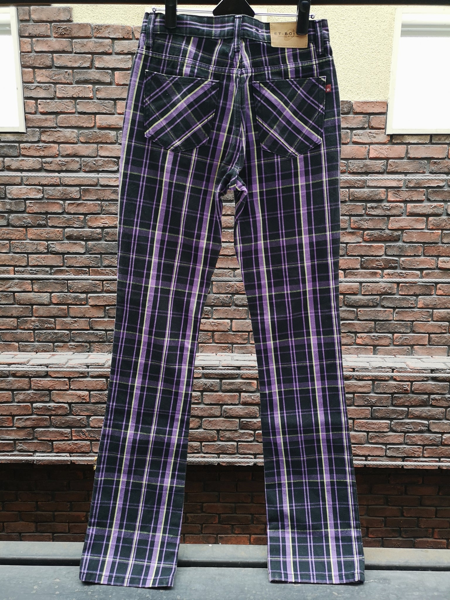 PURPLE PLAID BOOTS CUT PANTS