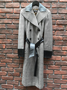 D&G GLEN CHECK & LEATHER TRENCH COAT