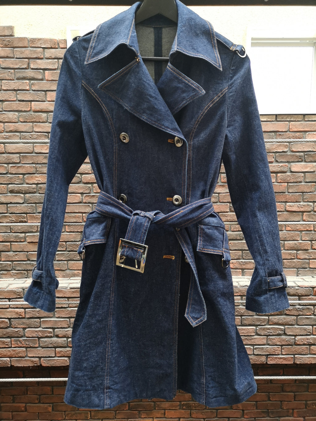 STRETCH DENIM TRENCH COAT