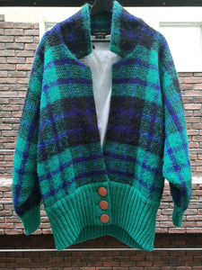80s PLAID KNIT JACKET
