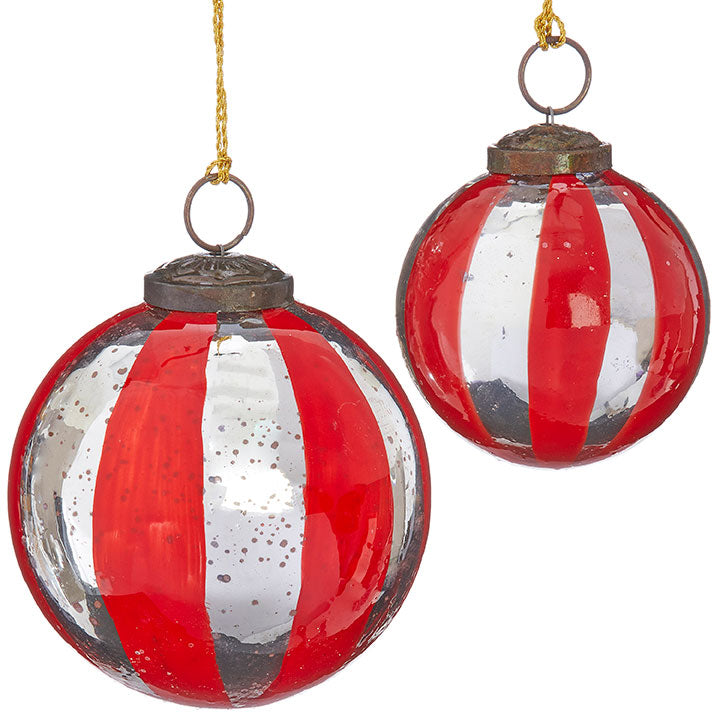 "4"" Striped Ball Ornament"