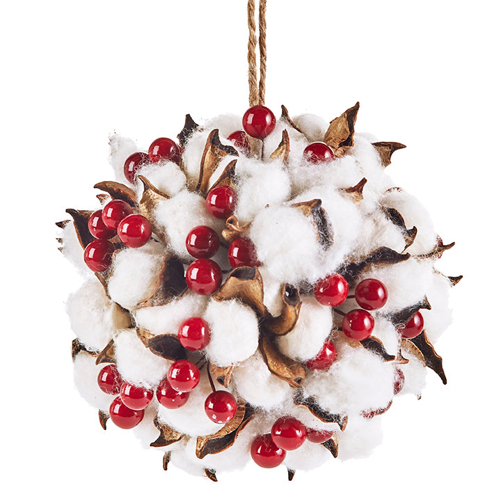 "5"" Cotton and Berry Ball Ornament"