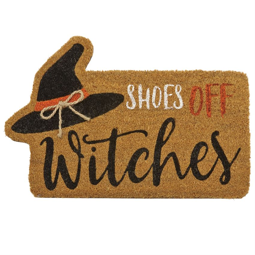 SHOES OFF WITCHES HALLOWEEN WOVEN COIR DOORMAT