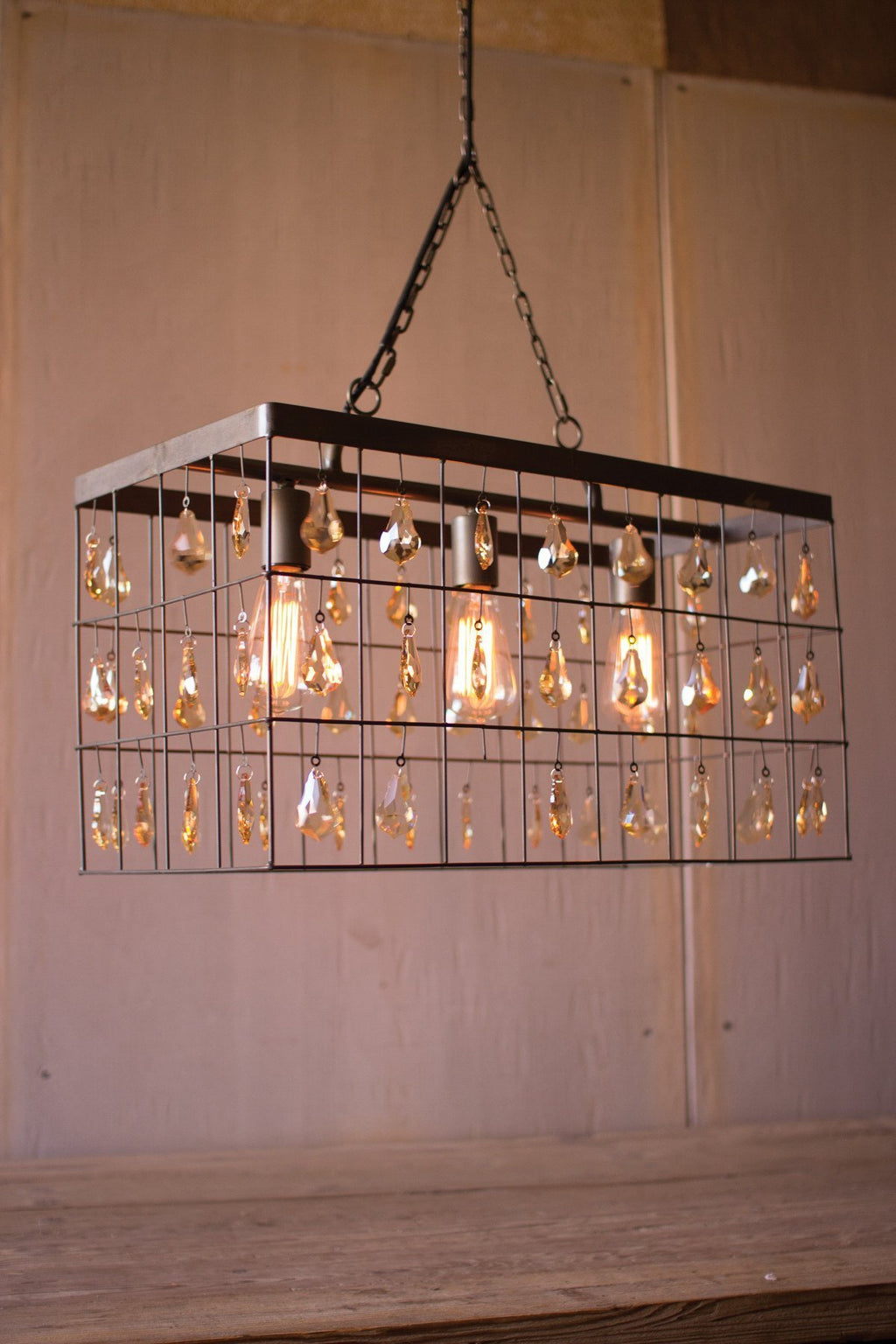 Urban Farmhouse Designs Large Rectangle Pendant with Amber Glass Gems