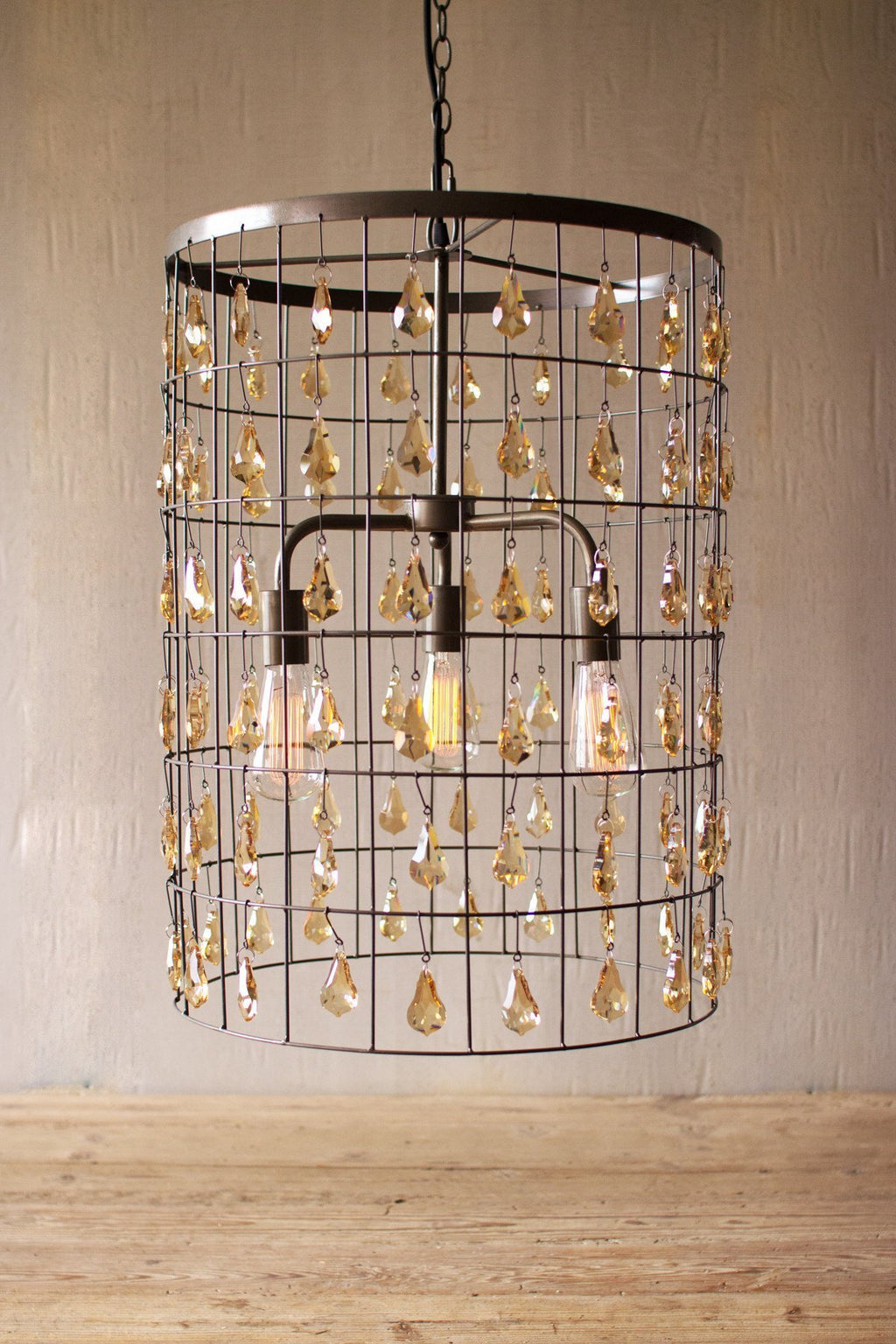 Urban Farmhouse Designs Pendant Light - Large Cylinder with Amber Gems