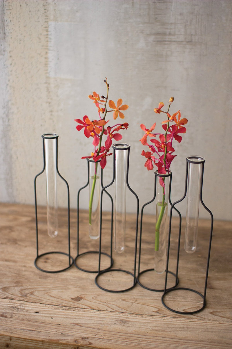 Urban Farmhouse Designs Five Wire Bottle Bud Vases