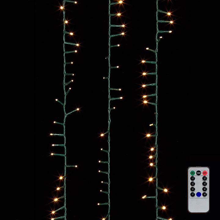 73.8' Snake Garland Green Wire I 1,000 White Lights I Includes Remote