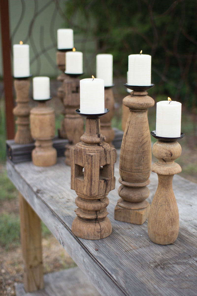Urban Farmhouse Designs  Set Of Three | Reclaimed Wooden Furniture Leg Candle Holders