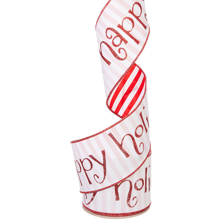 "4"" W x 10 YDS Happy Holidays Wired Ribbon"