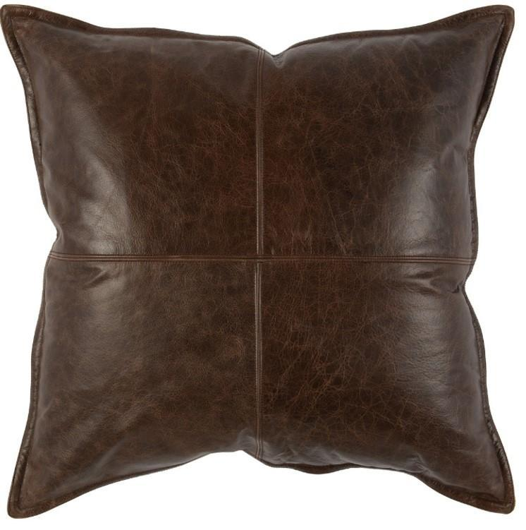 Square Leather Pillows - Set of Two