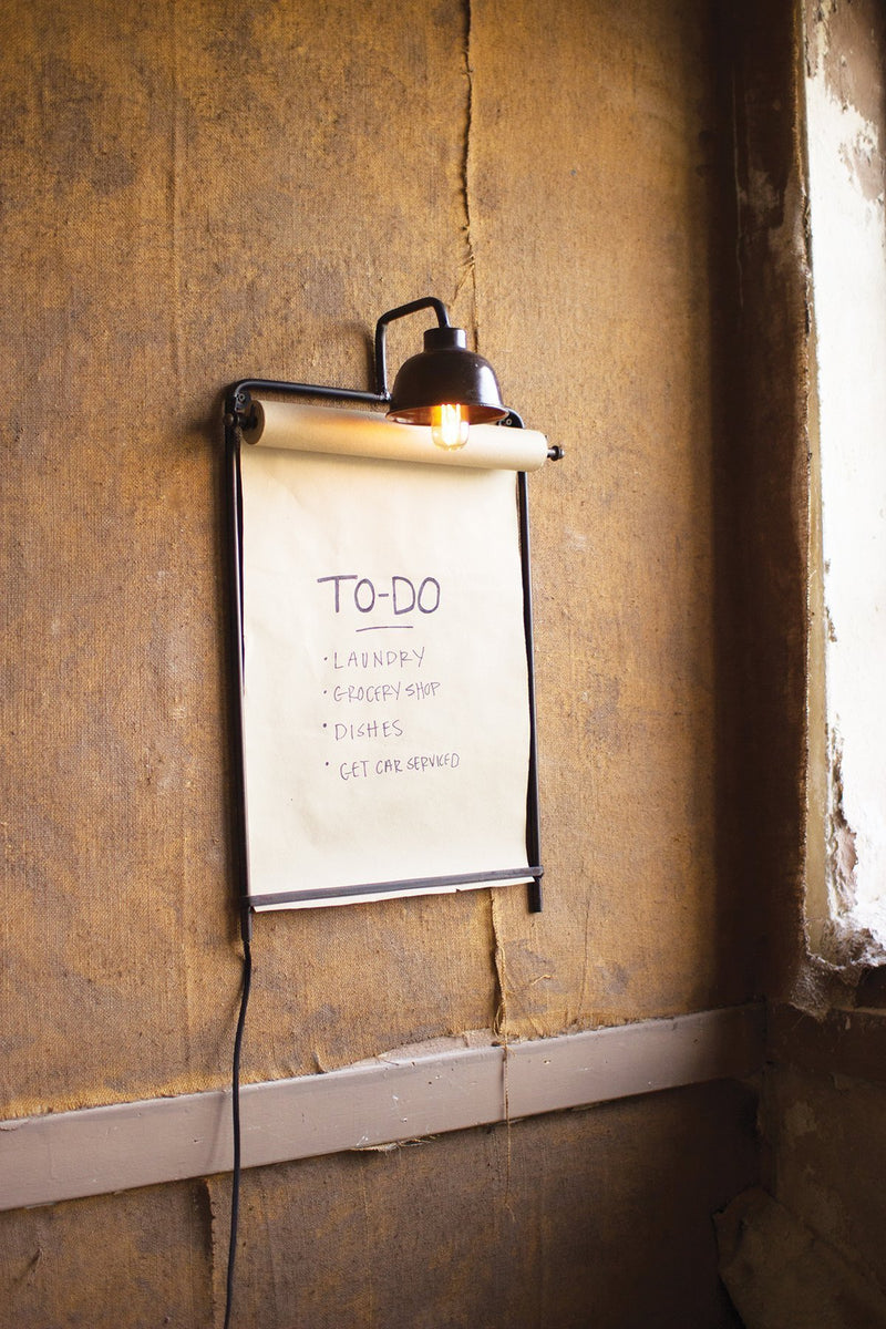 Urban Farmhouse Designs Wall Lamp with Note Roll