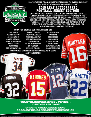2019 Leaf Autograph Football Jersey - Random Division BOX BREAK #82