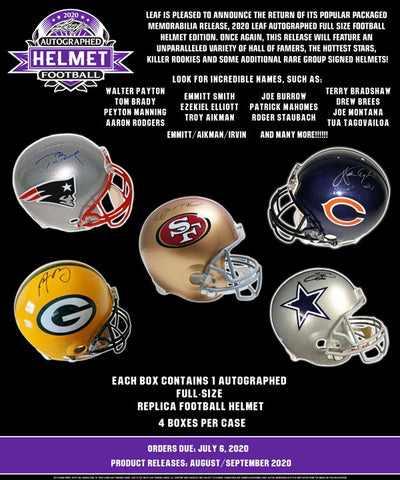 2020 Leaf Autographed Full Size Helmet Football Hobby Box - Factory Sealed