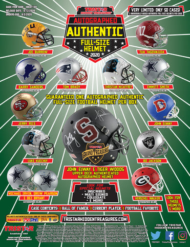 2020 TriStar Hidden Treasures Autographed Full Size Helmet Football Hobby Box - Factory Sealed