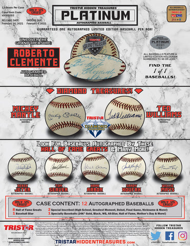 2021 Tristar Autographed Baseball Platinum Edition Box - Factory Sealed