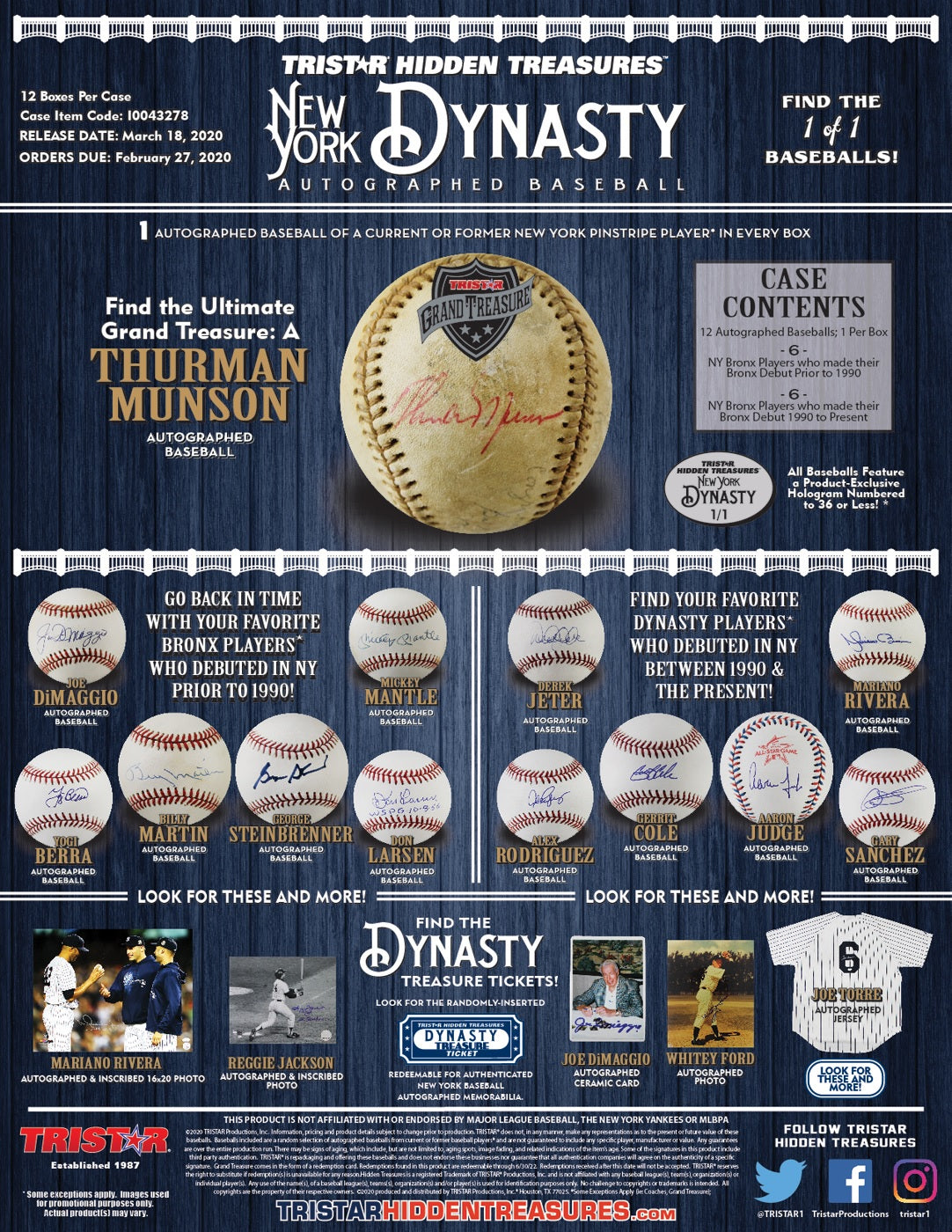 2020 Tristar HT Auto Baseball: New York Yankees Dynasty Edition - Factory Sealed