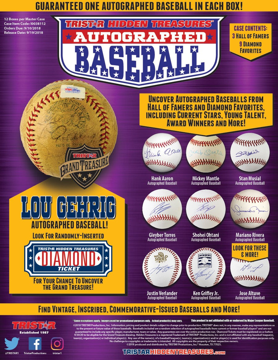 2018 Tristar Hidden Treasures Autographed Baseball Series 10 - Factory Sealed