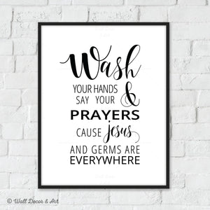 photograph relating to Wash Your Hands and Say Your Prayers Printable titled Toilet Signs or symptoms Wall Decor and Artwork