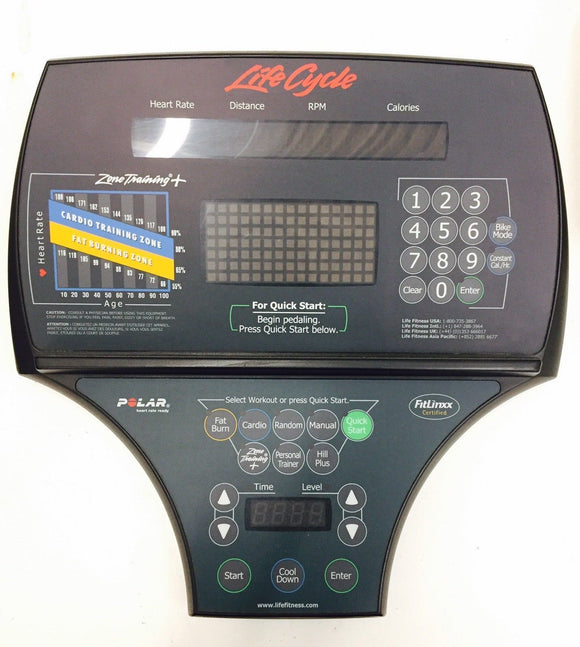 Life Fitness 95R 9500 HR Recumbent Bike Display Console Panel & PCB LifeCycle - fitnesspartsrepair