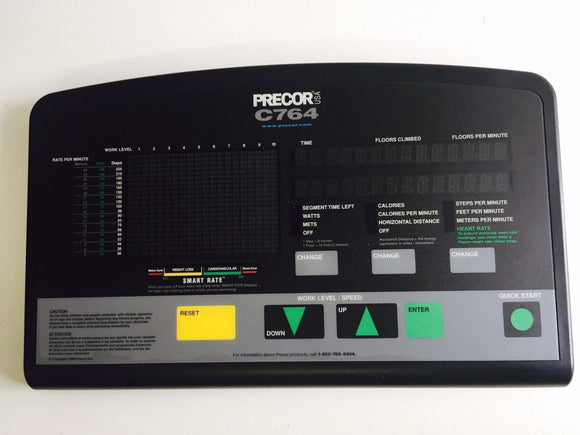 Precor C764 764 Stepper Climber Step Machine Display Console Board + Overlay - fitnesspartsrepair