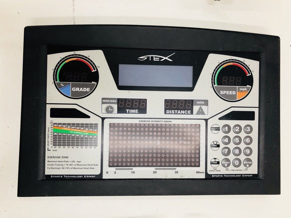 Stex Treadmill 8020T Upper Display Console Panel Board & Overlay Low Hours - fitnesspartsrepair