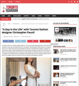 """A Day in the Life"" with Toronto fashion designer Christopher Paunil"