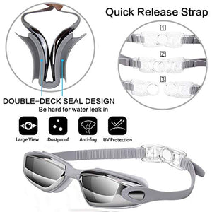 🔥HOT🔥【4PCS】Swim Goggles+Swim Cap+Nose Clip+Earplugs