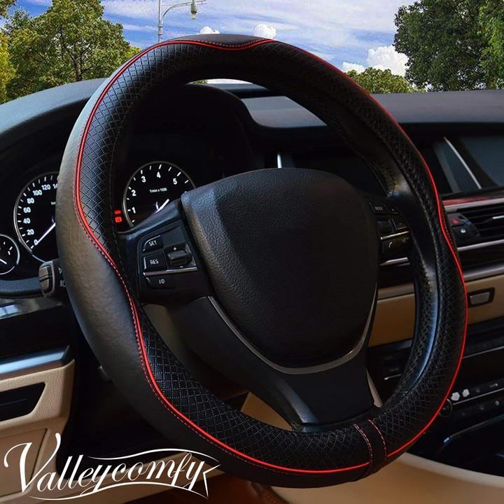 Valleycomfy Steering Wheel Covers Universal 15 inch with Genuine Leather for Car Truck SUV