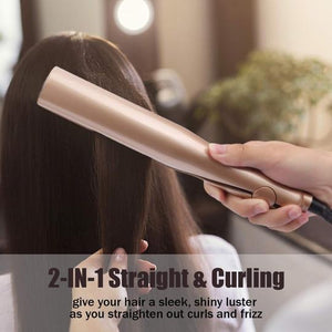 2 IN 1 Straightening Irons Hair Curler -- Free Shipping