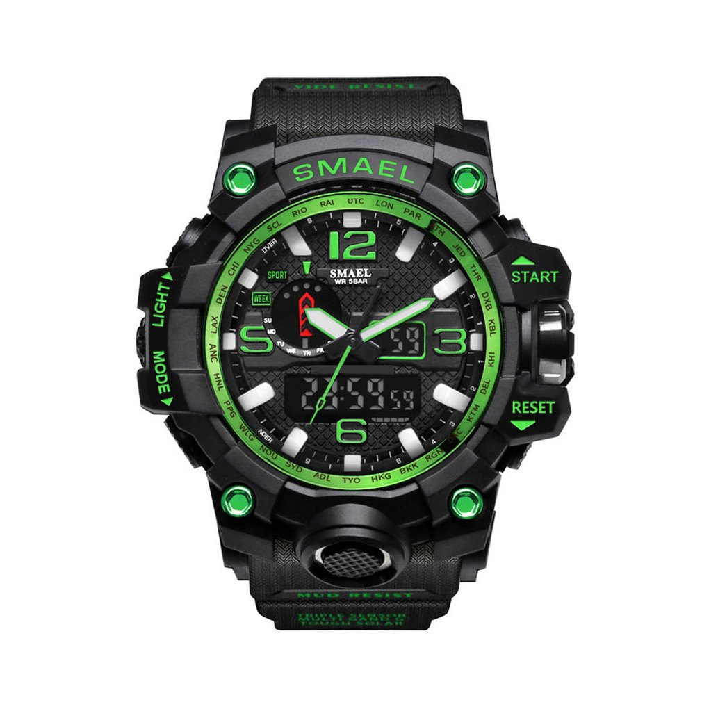 Men's Sports Outdoor Waterproof Military Wrist Watch Date Multi Function Tactics LED Alarm Stopwatch