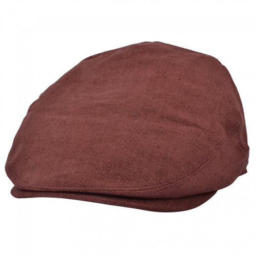 Linen Flat Cap Dark Brown