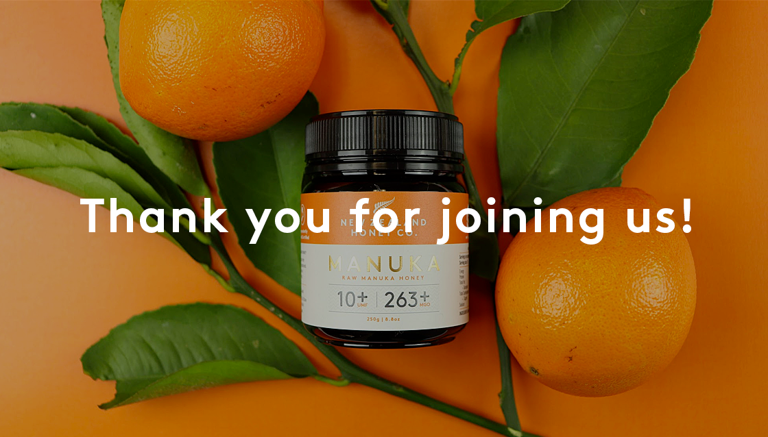 Image of Manuka Honey UMF 10+ with a thank you message