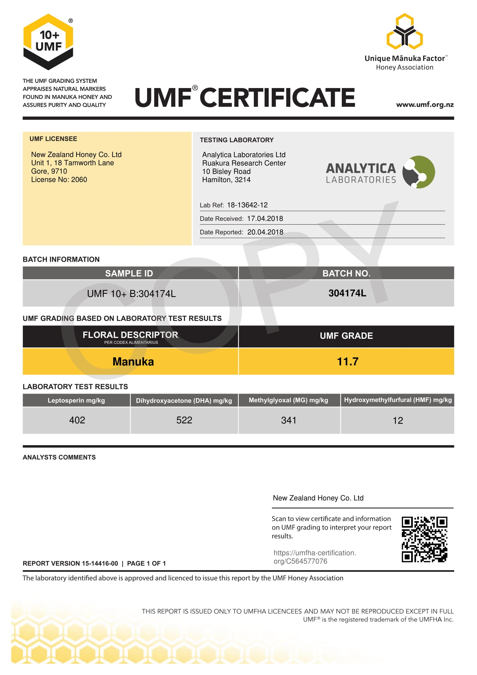 Manuka Honey UMF Certificate for LOT 304174L from New Zealand Honey Co.