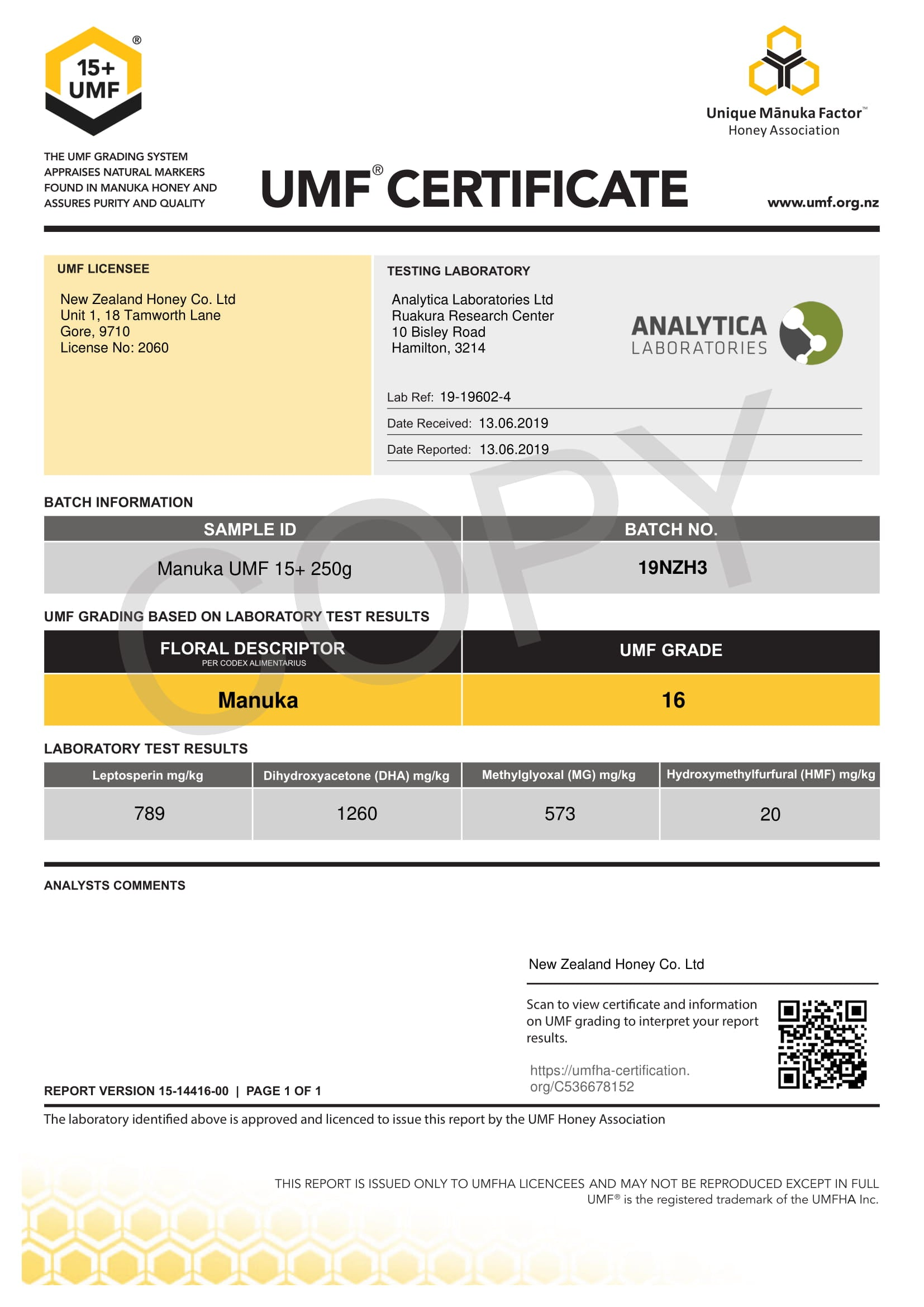 Manuka Honey UMF Certificate for LOT 19NZH3 from New Zealand Honey Co.