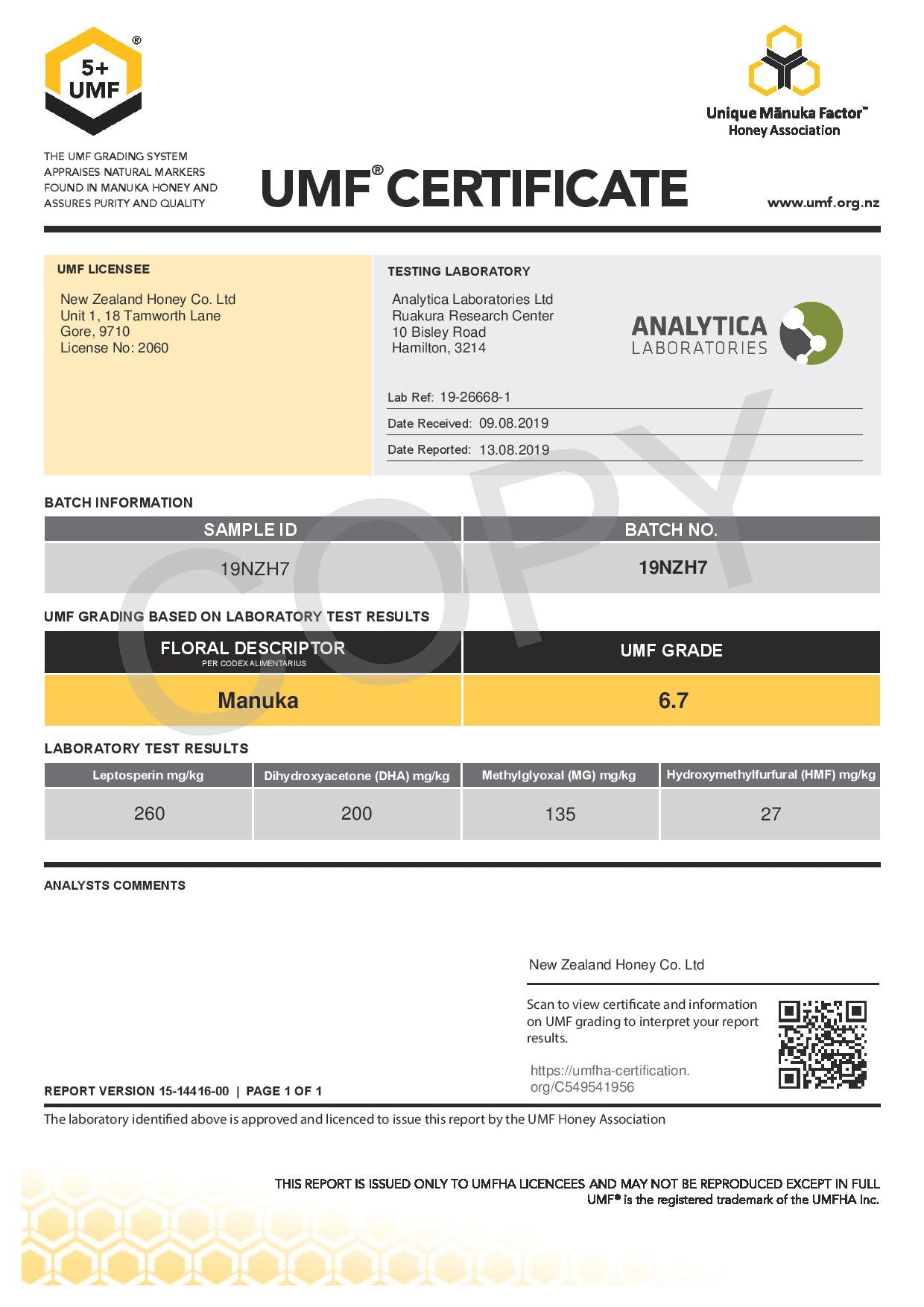 Manuka Honey UMF Certificate for LOT 19NZH7 from New Zealand Honey Co.