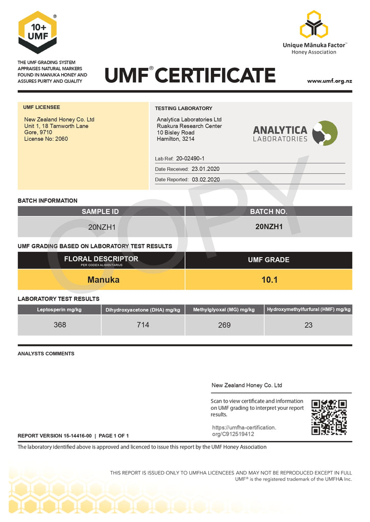 UMF Testing Certificate - LOT 20NZH1