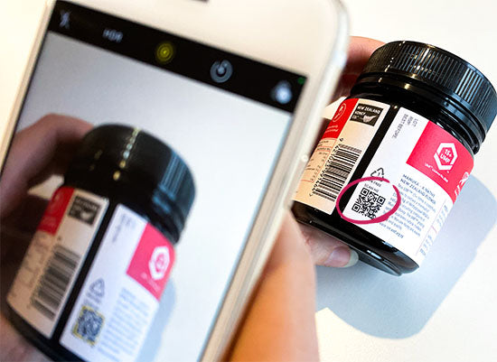 Scannable QR Code showing the traceability and authenticity of Manuka Honey jar