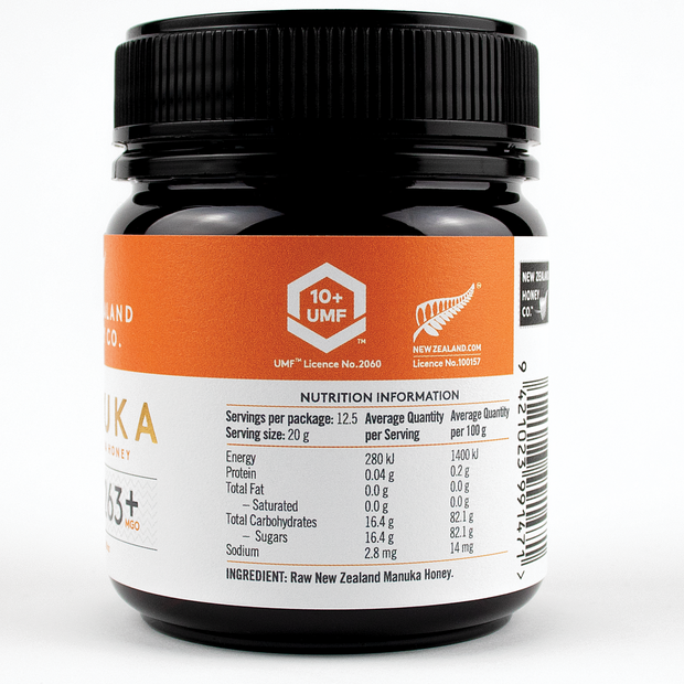 Raw Manuka Honey UMF 10+ Jar from New Zealand Honey Co - Left side of Jar Label
