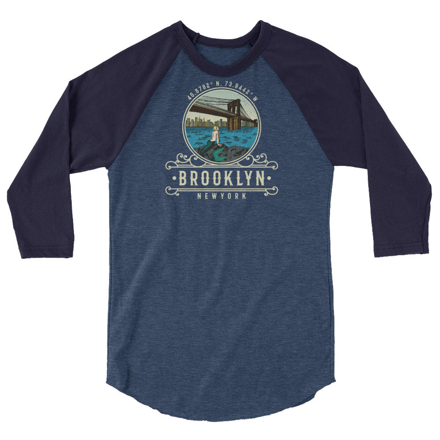 Brooklyn, New York 3/4 sleeve raglan shirt