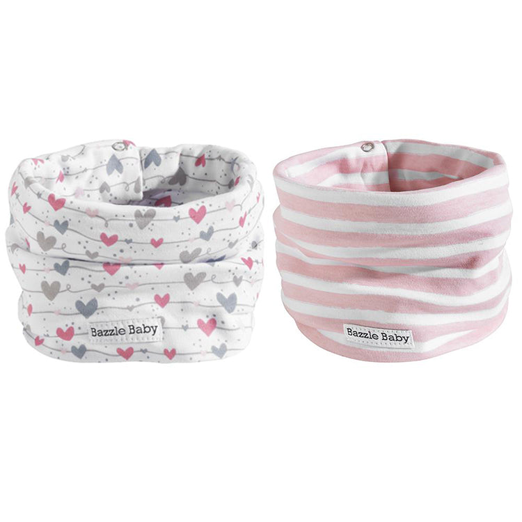 Wavy hearts and lines pink and white baby infinity scarf style drool bibs.